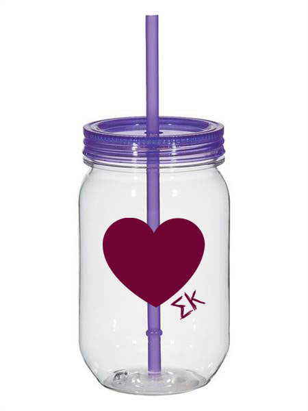 Sigma Kappa 25oz Scribbled Heart Mason Jar