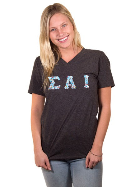Sigma Alpha Iota Unisex V-Neck T-Shirt with Sewn-On Letters