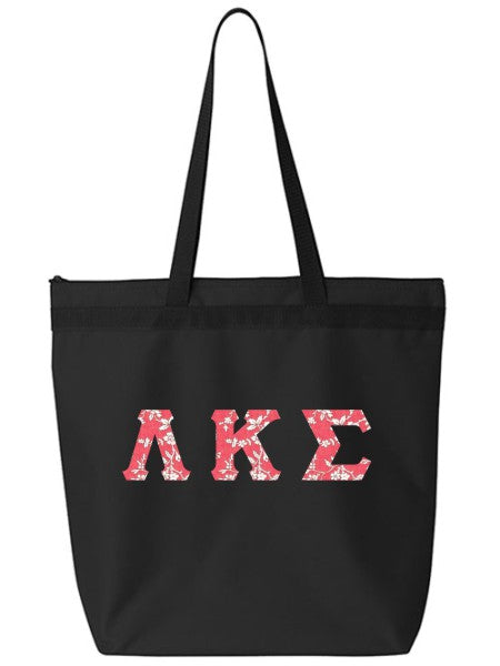 Lambda Kappa Sigma Large Zippered Tote Bag with Sewn-On Letters