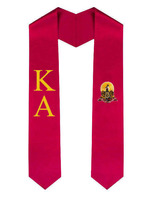 Kappa Alpha Lettered Graduation Sash Stole with Crest