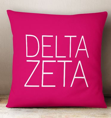 Delta Zeta Simple Text Throw Pillow
