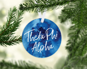 Theta Phi Alpha Round Acrylic Watercolor Ornament