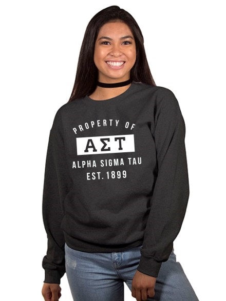 Alpha Sigma Tau Property of Crewneck Sweatshirt