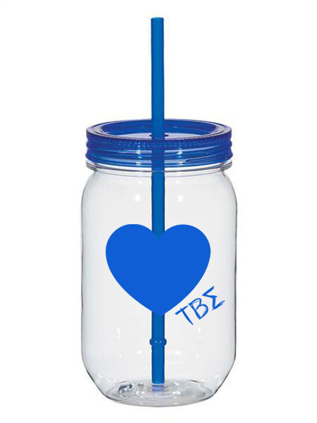 Tau Beta Sigma 25oz Scribbled Heart Mason Jar
