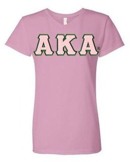Alpha Kappa Alpha Unisex V-Neck T-Shirt with Sewn-On Letters