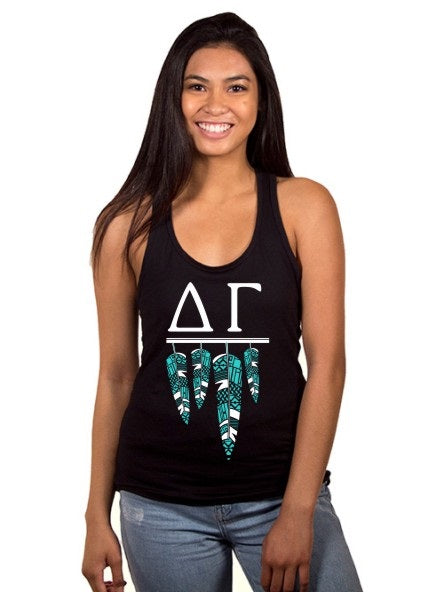 Delta Gamma Tribal Feathers Poly-Cotton Tank