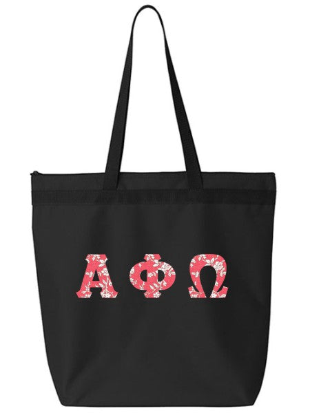 Alpha Phi Omega Large Zippered Tote Bag with Sewn-On Letters