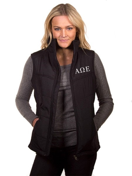 Alpha Omega Epsilon Embroidered Ladies Puffy Vest