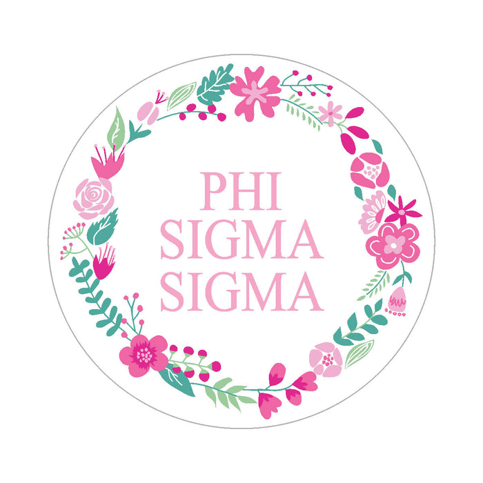 Phi Sigma Sigma Floral Wreath Sticker