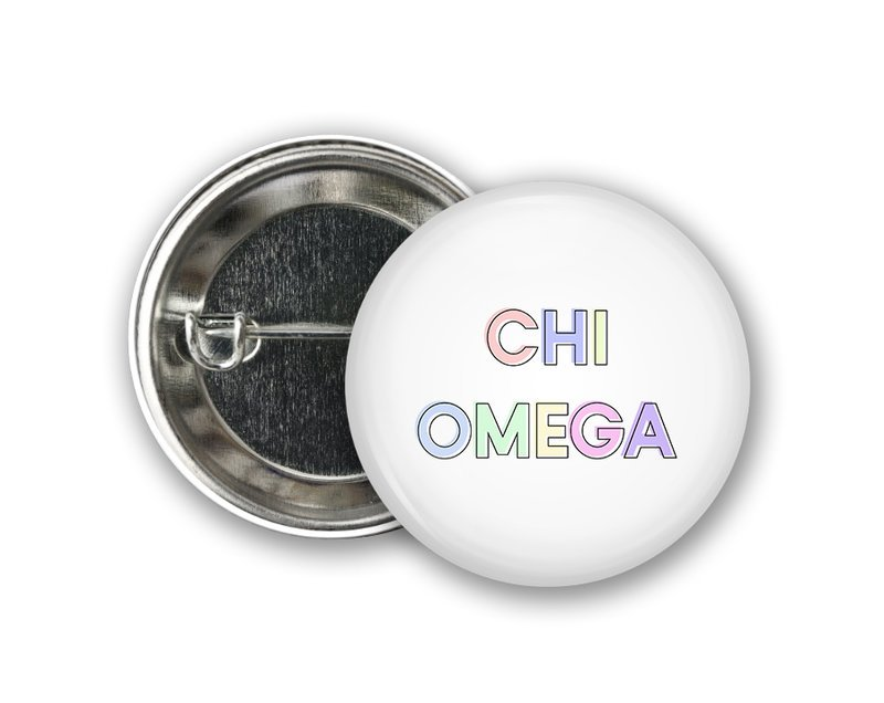 Chi Omega Pastel Text Button