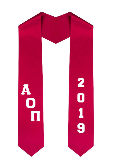 Alpha Omicron Pi Slanted Grad Stole with Letters & Year
