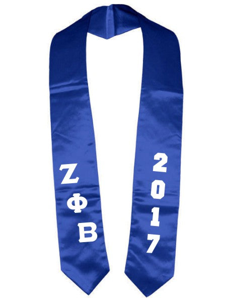 Zeta Phi Beta Slanted Grad Stole with Letters & Year