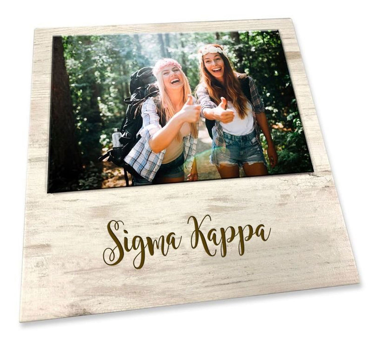 Sigma Kappa Script Wood Picture Frame