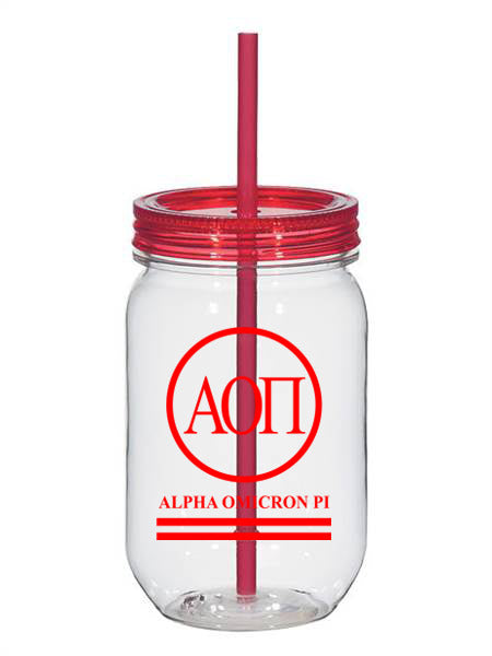 Alpha Omicron Pi Circle Stripes 25oz Mason Jar