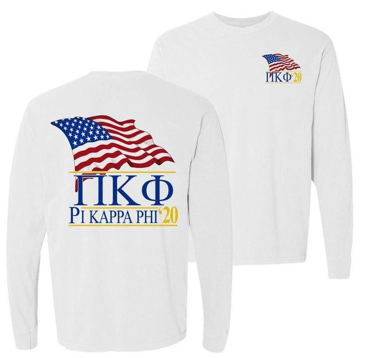Pi Kappa Phi Patriot Flag Comfort Colors Long Tee