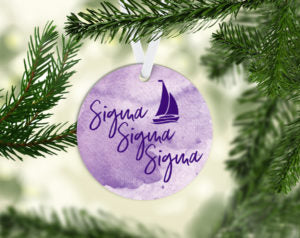 Sigma Sigma Sigma Round Acrylic Watercolor Ornament
