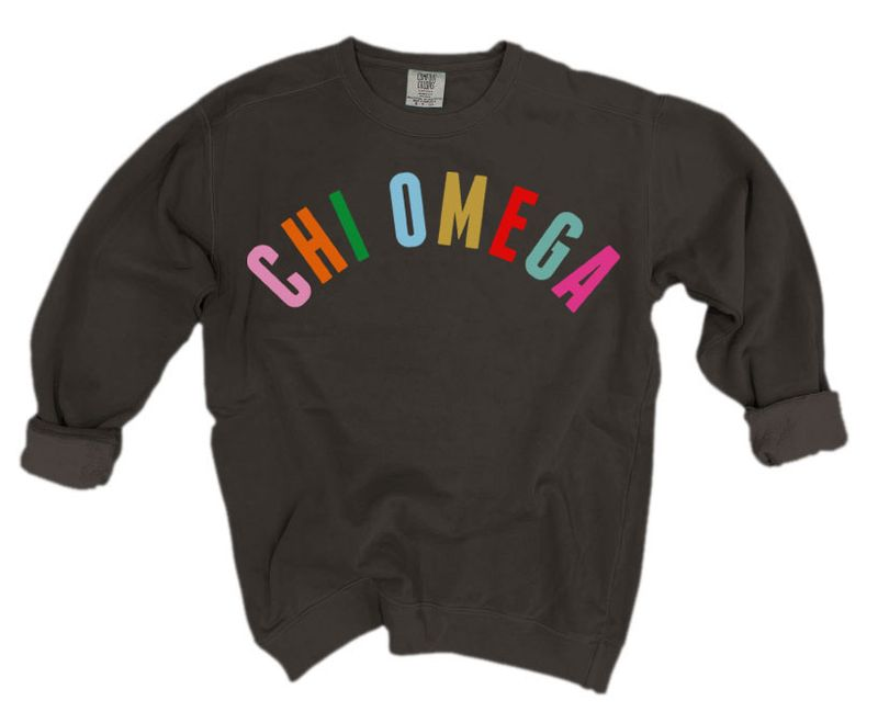 Chi Omega Comfort Colors Over the Rainbow Sorority Sweatshirt