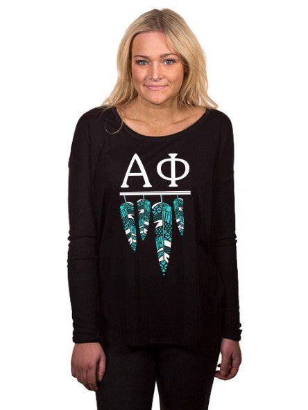 Alpha Phi Tribal Feathers Flowy Long Sleeve Tee