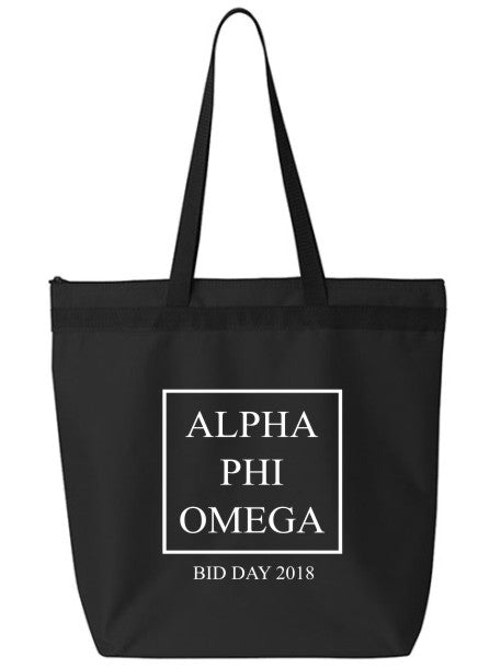Alpha Phi Omega Box Stacked Event Tote Bag