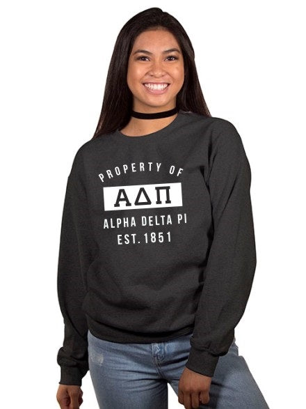Alpha Delta Pi Property of Crewneck Sweatshirt