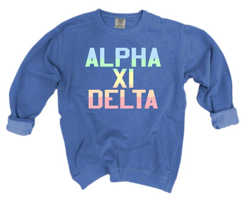 Alpha Xi Delta Comfort Colors Pastel Sorority Sweatshirt