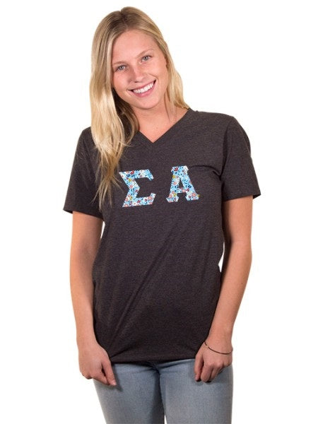 Sigma Alpha Unisex V-Neck T-Shirt with Sewn-On Letters
