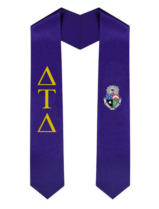 Delta Tau Delta Lettered Graduation Sash Stole with Crest