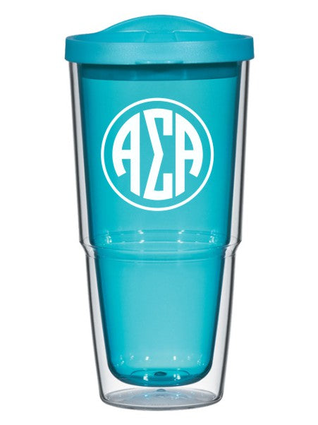 Alpha Sigma Alpha Circle Arrows 24 oz Tumbler with Lid