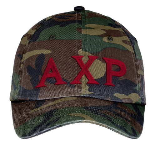 Alpha Chi Rho Letters Embroidered Camouflage Hat