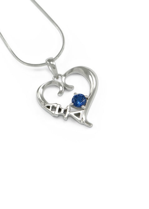 Alpha Xi Delta Sterling Silver Heart Pendant with Colored Swarovski Crystal