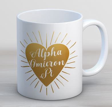 Alpha Omicron Pi Heart Burst Coffee Mug