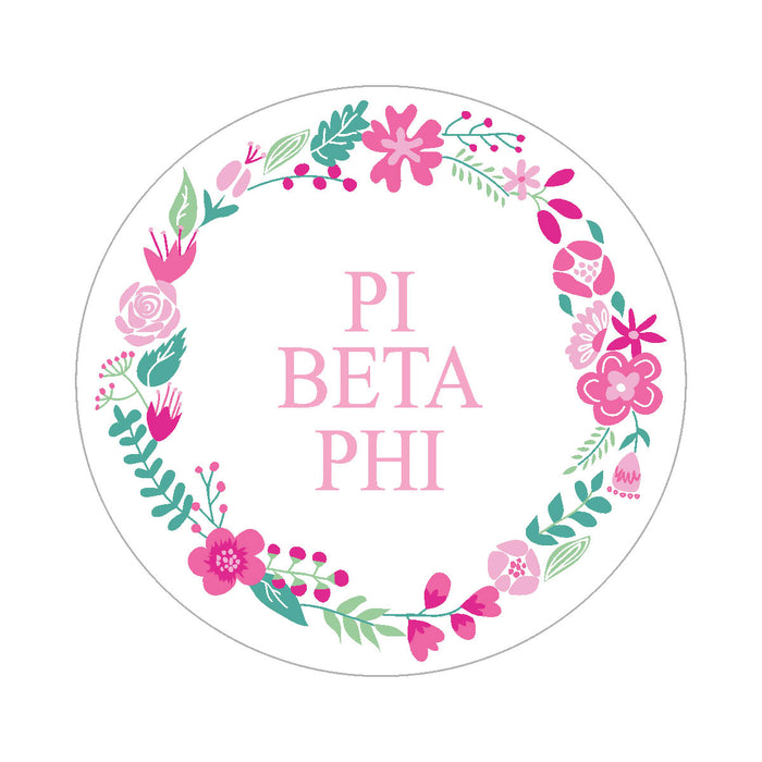 Pi Beta Phi Floral Wreath Sticker