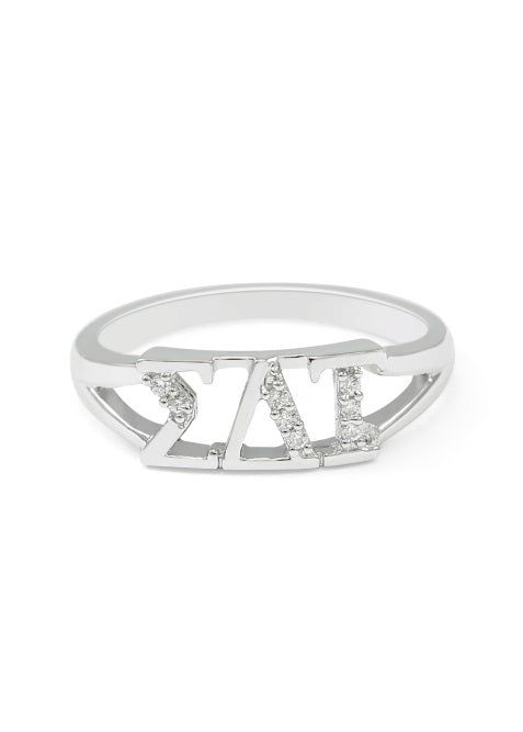Sigma Delta Tau Sterling Silver Ring with Lab Created Clear Diamond