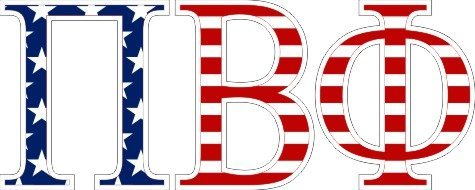 Pi Beta Phi American Flag Letter Sticker - 2.5