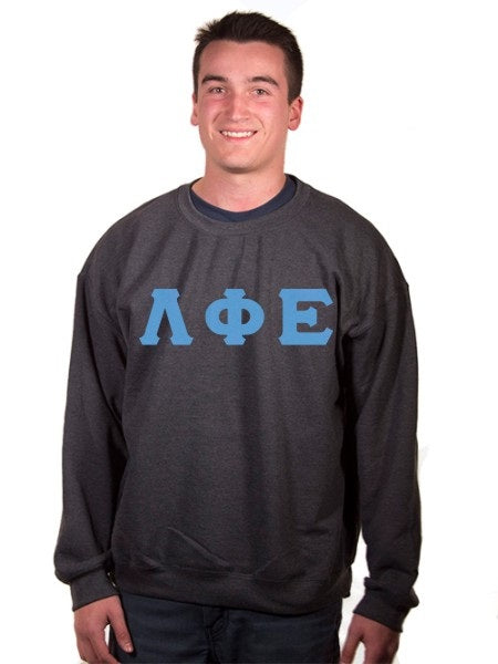 Lambda Phi Epsilon Crewneck Sweatshirt with Sewn-On Letters