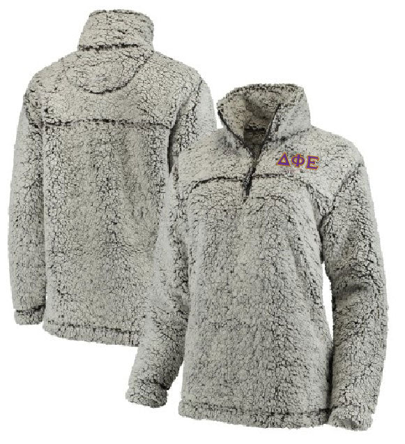 Delta Phi Epsilon Embroidered Sherpa Quarter Zip Pullover