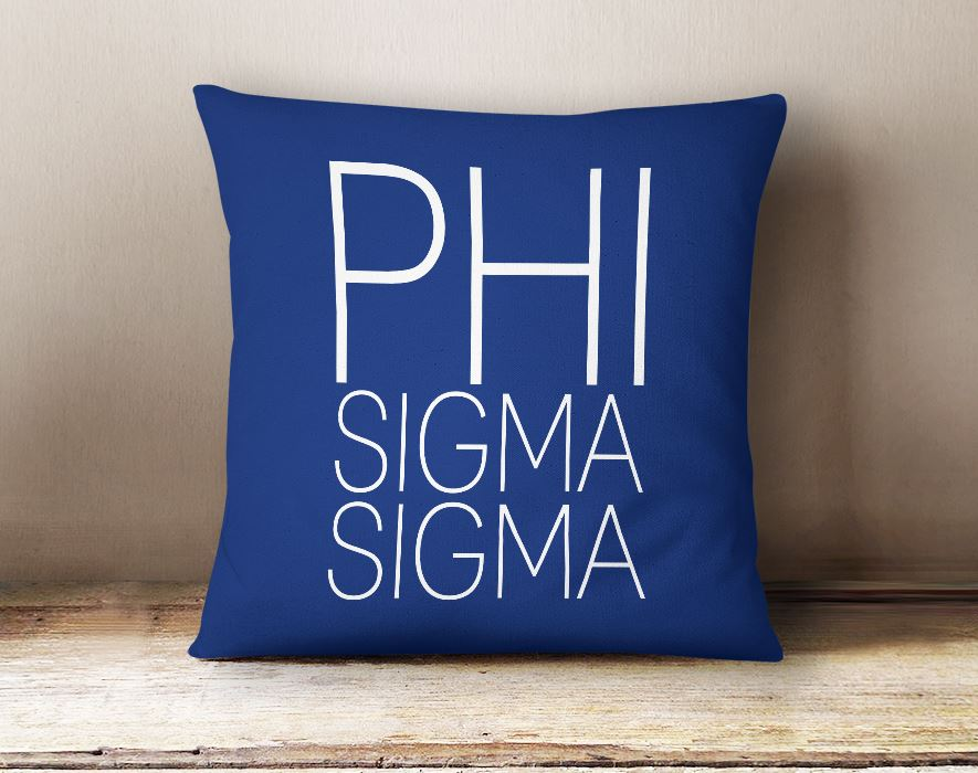 Phi Sigma Sigma Simple Text Throw Pillow