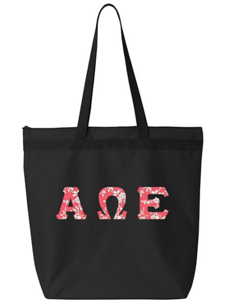 Alpha Omega Epsilon Large Zippered Tote Bag with Sewn-On Letters
