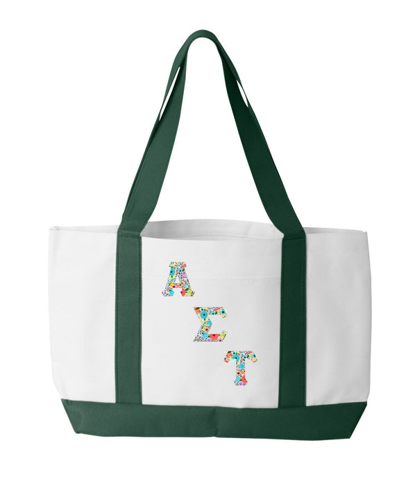 Alpha Sigma Tau 2-Tone Boat Tote with Sewn-On Letters