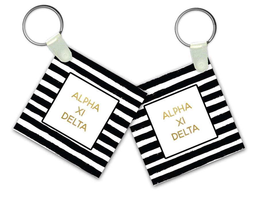 Alpha Xi Delta Striped Gold Keychain