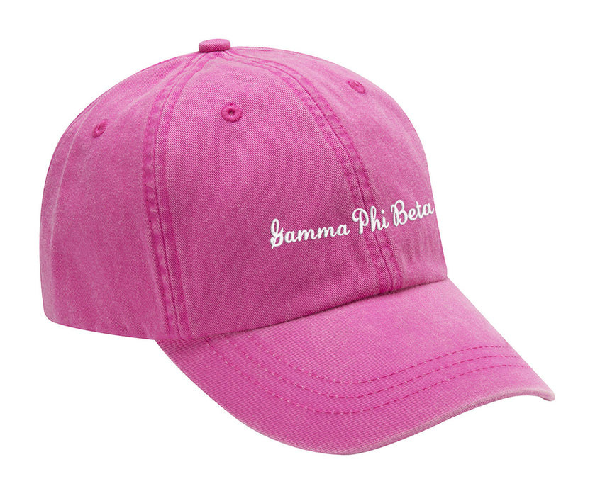 Gamma Phi Beta Cursive Embroidered Hat