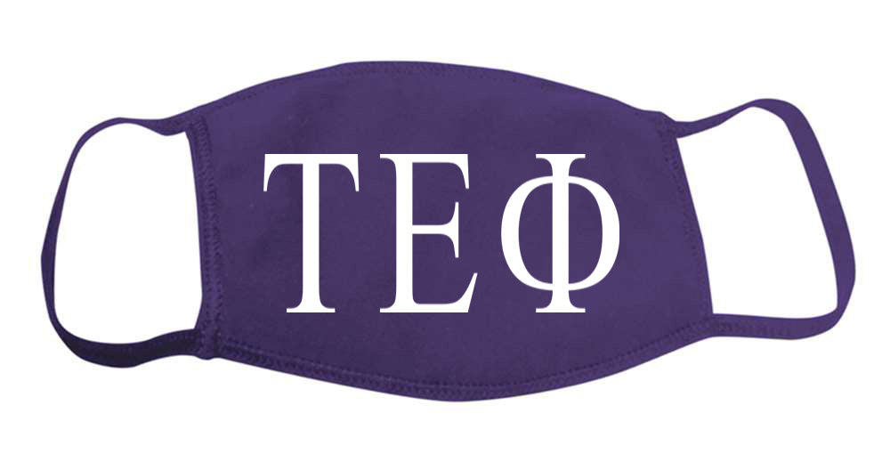 Tau Epsilon Phi Face Mask With Big Greek Letters
