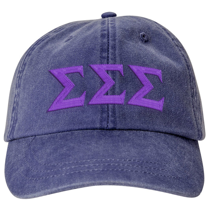 Sigma Sigma Sigma Greek Letter Embroidered Hat