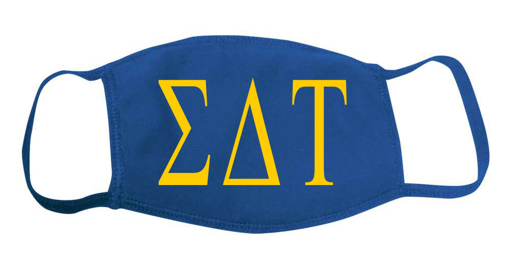 Sigma Delta Tau Face Mask With Big Greek Letters