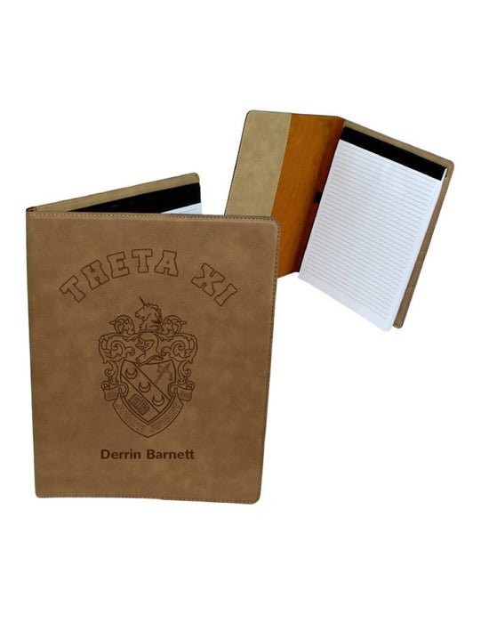 Theta Xi Leatherette Portfolio with Notepad