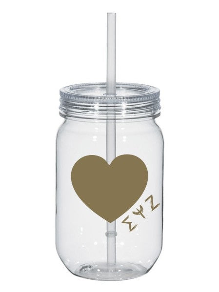 Sigma Psi Zeta 25oz Scribbled Heart Mason Jar