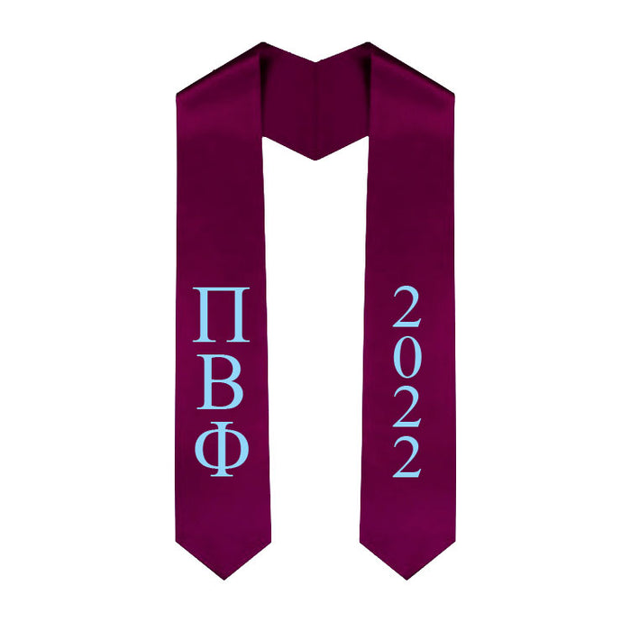 Pi Beta Phi Vertical Grad Stole with Letters & Year