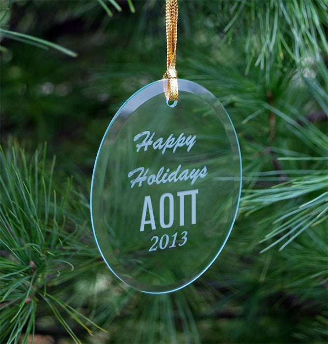 Alpha Omicron Pi Engraved Glass Ornament