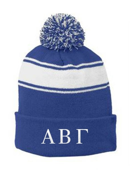Fraternity Embroidered Pom Pom Beanie