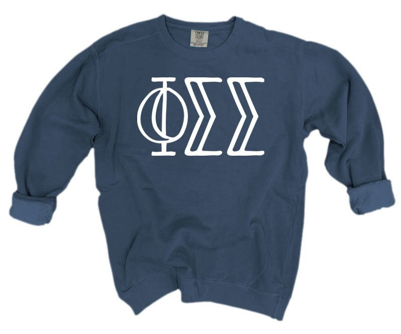 Phi Sigma Sigma Comfort Colors Greek Letter Sorority Crewneck Sweatshirt